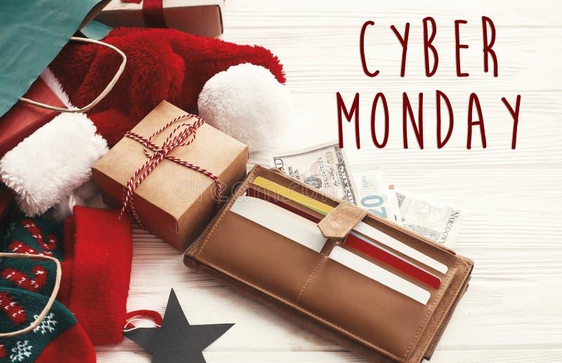 网络星期一发短信给标志 特殊折扣圣诞节提议 基督 库存照片