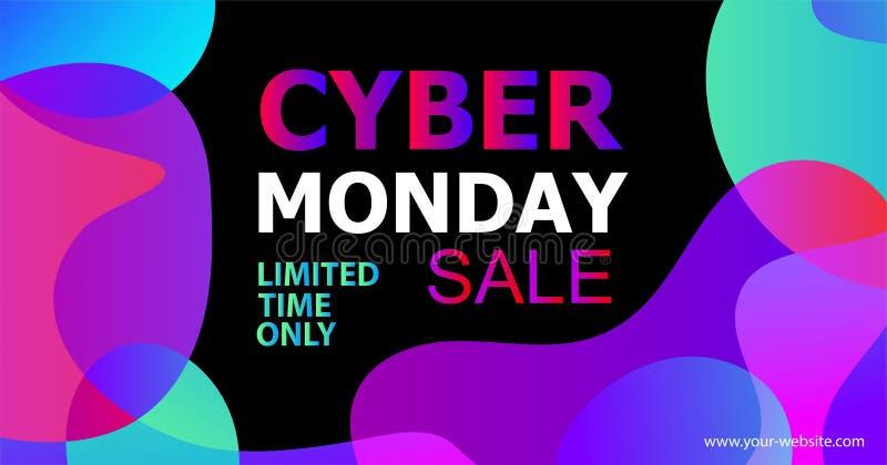 网络星期一在时髦抽象可变的霓虹梯度有机液体形状,星期一网络销售折扣的传染媒介横幅  向量例证
