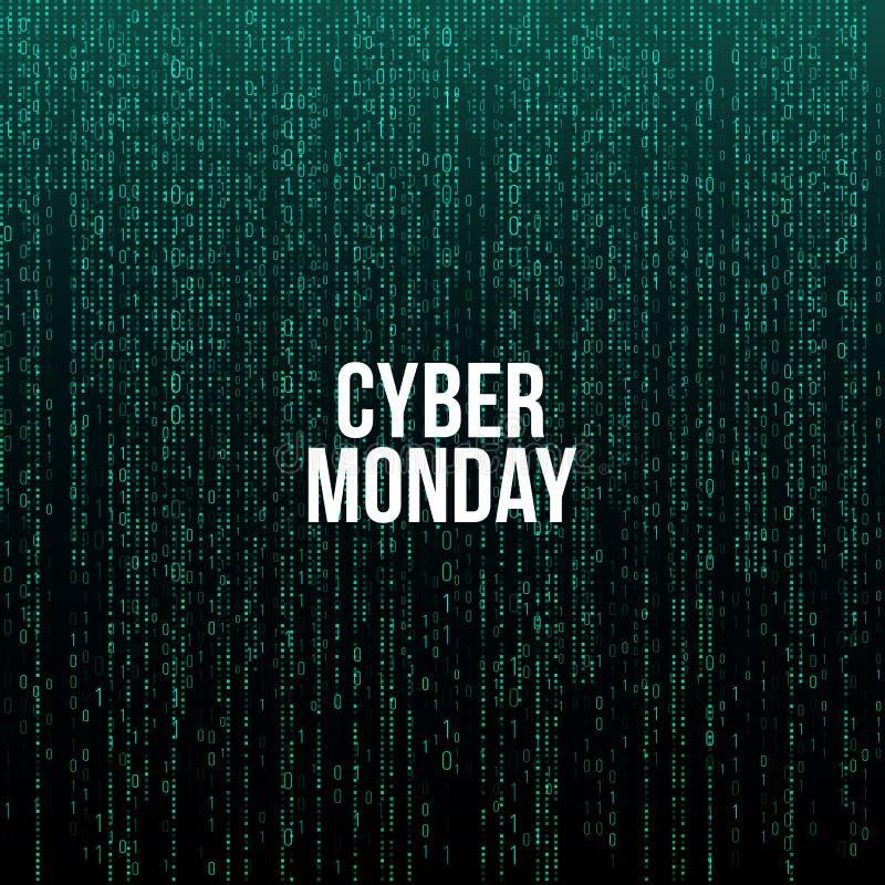 网络星期一海报 在绿色计算机编码背景,传染媒介例证的白色文本 向量例证