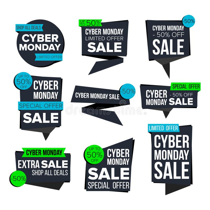 网络星期一销售横幅集合传染媒介 销售技术横幅 折扣标记,特别星期一提议横幅 特价优待 库存例证