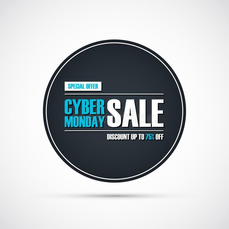网络星期一销售 盘旋特价优待横幅,由75%决定的折扣  事务、促进和广告的横幅 库存例证
