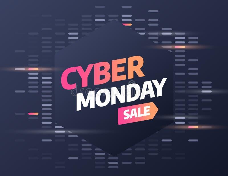 网络星期一,折扣销售概念 题字设计模板 网络星期一横幅 也corel凹道例证向量 皇族释放例证