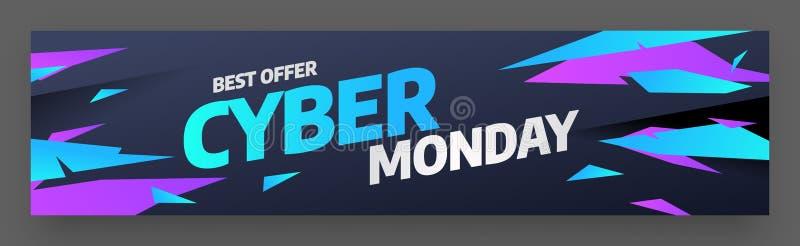 网络星期一,折扣销售概念 题字设计模板 网络星期一横幅 也corel凹道例证向量 库存例证