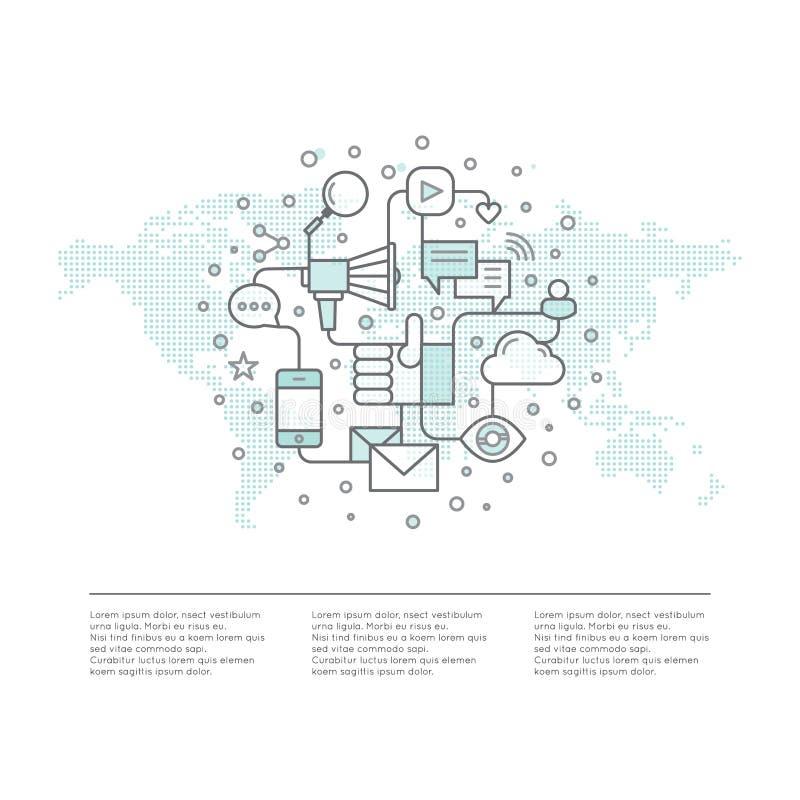 网络电子邮件或流动通知和提议营销和社会竞选 全世界促进处理概念与小点Worl 向量例证