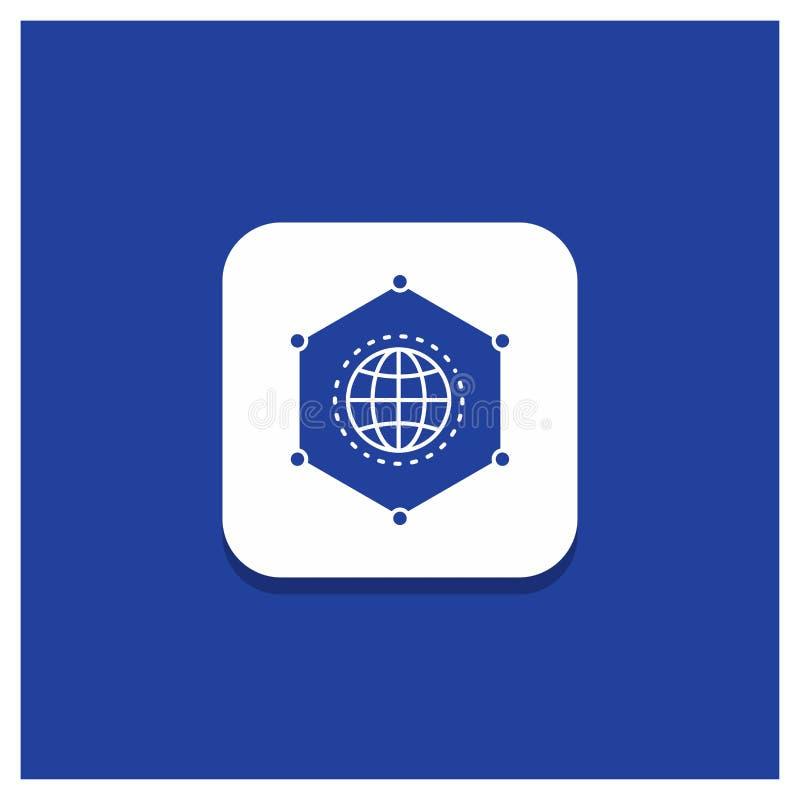 网络的蓝色圆的按钮,全球性,数据,连接,企业纵的沟纹象 皇族释放例证