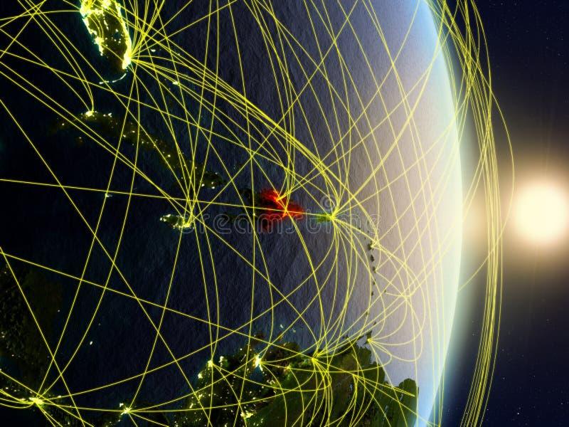 网络的行星地球上的多米尼加共和国 免版税图库摄影