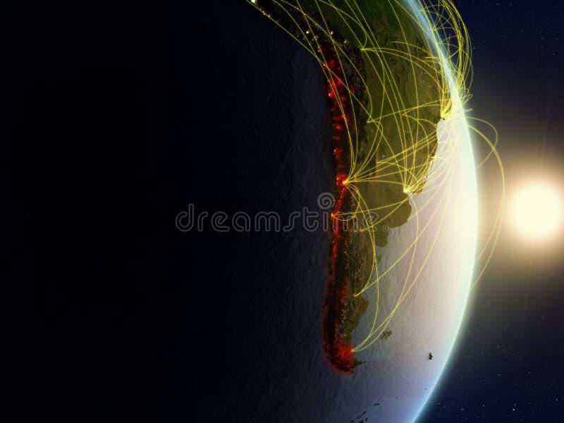 网络的行星地球上的智利 向量例证