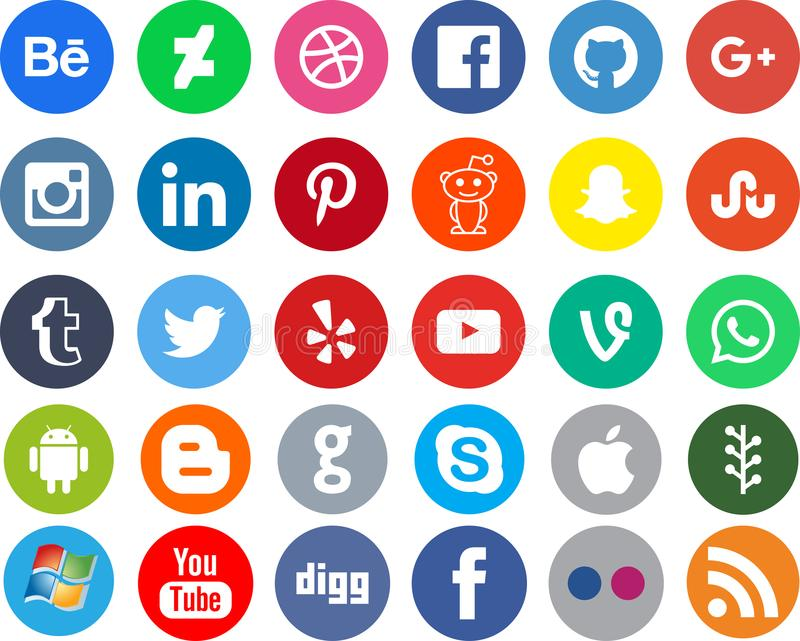 网络社会媒介apps 库存例证