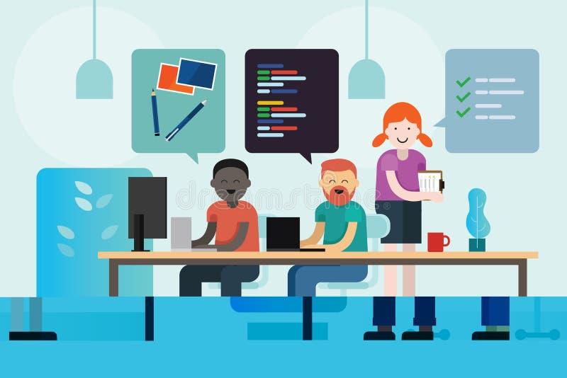 网络设计发展程序员和工作的项目负责人一起编码沟通的简要的创造性的公司队 皇族释放例证