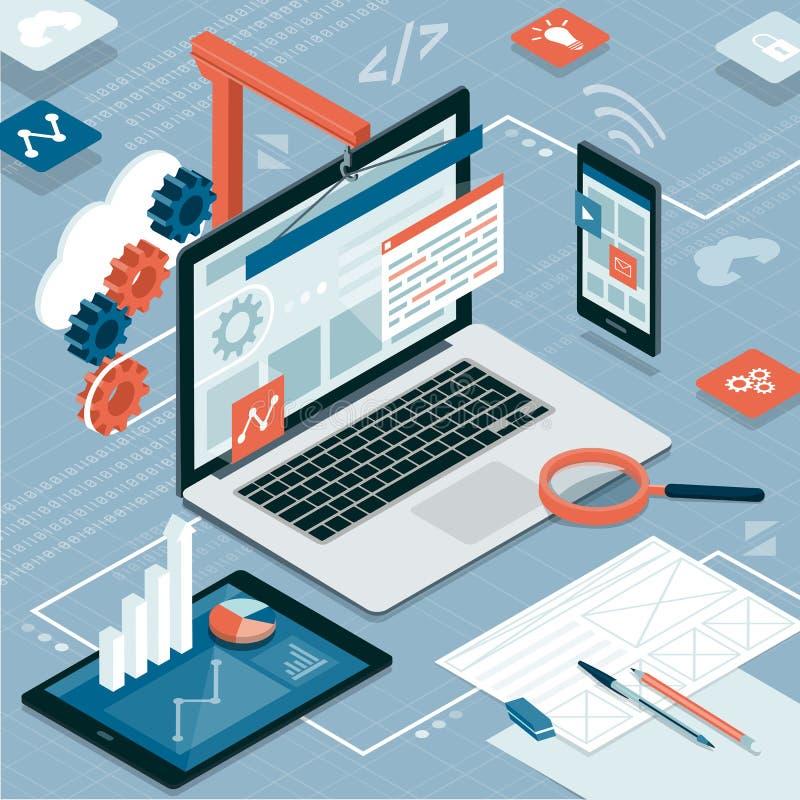 网络设计和发展 向量例证
