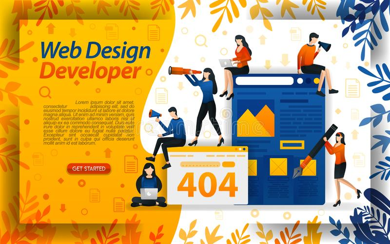 网络设计开发商 建立网站 创造网站 改进网络和编制程序,概念传染媒介ilustration 能为登陆使用 库存例证