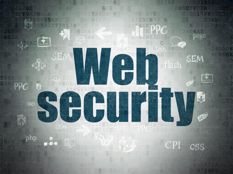 网络设计概念:在数字资料纸背景的网安全 库存例证