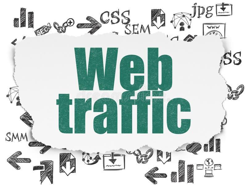 网络设计概念:在被撕毁的纸背景的网交通 皇族释放例证