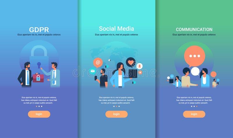 网络设计模板集合GDPR社会媒介通信另外企业概念收藏平的拷贝空间 库存例证