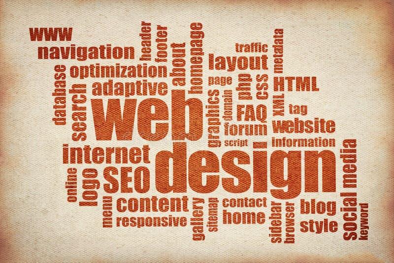 网络设计词云彩-在帆布的打印 库存例证