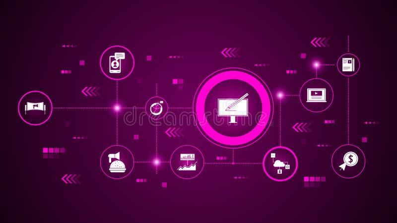 网络设计象 从数字行销,促进集合 向量例证