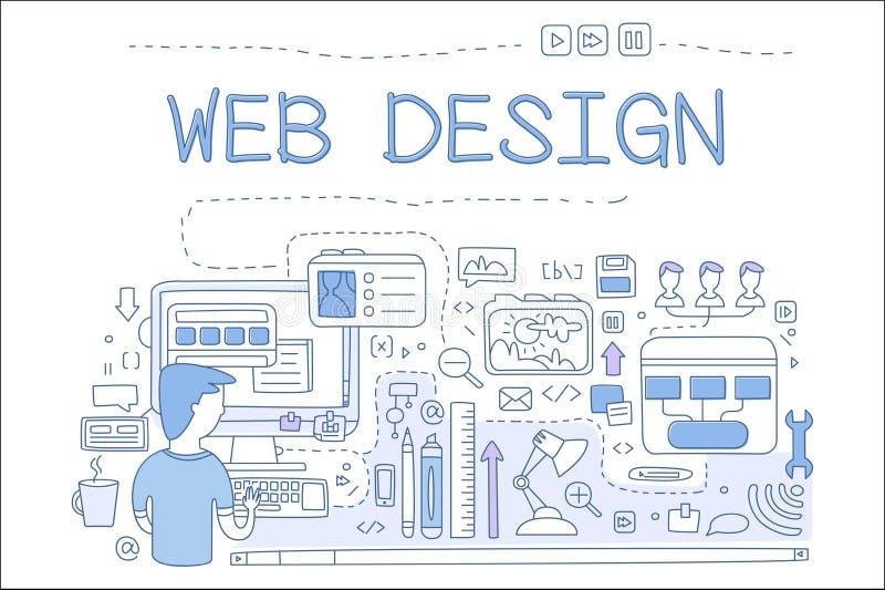 网络设计,互联网发展概念,手拉的传染媒介例证,横幅的,海报,小册子设计元素 向量例证