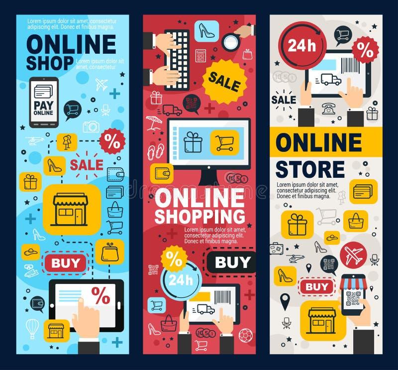 网络购物和付款线性横幅 皇族释放例证