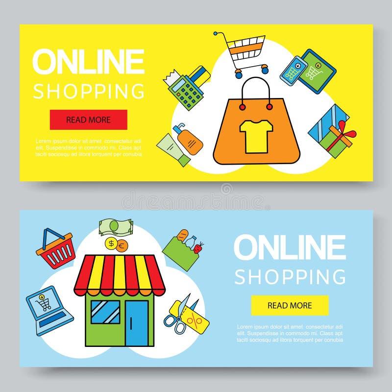 网络购物或夏天销售传染媒介横幅 与袋子、礼物、优惠券和膝上型计算机,机动性的真正商店广告 向量例证