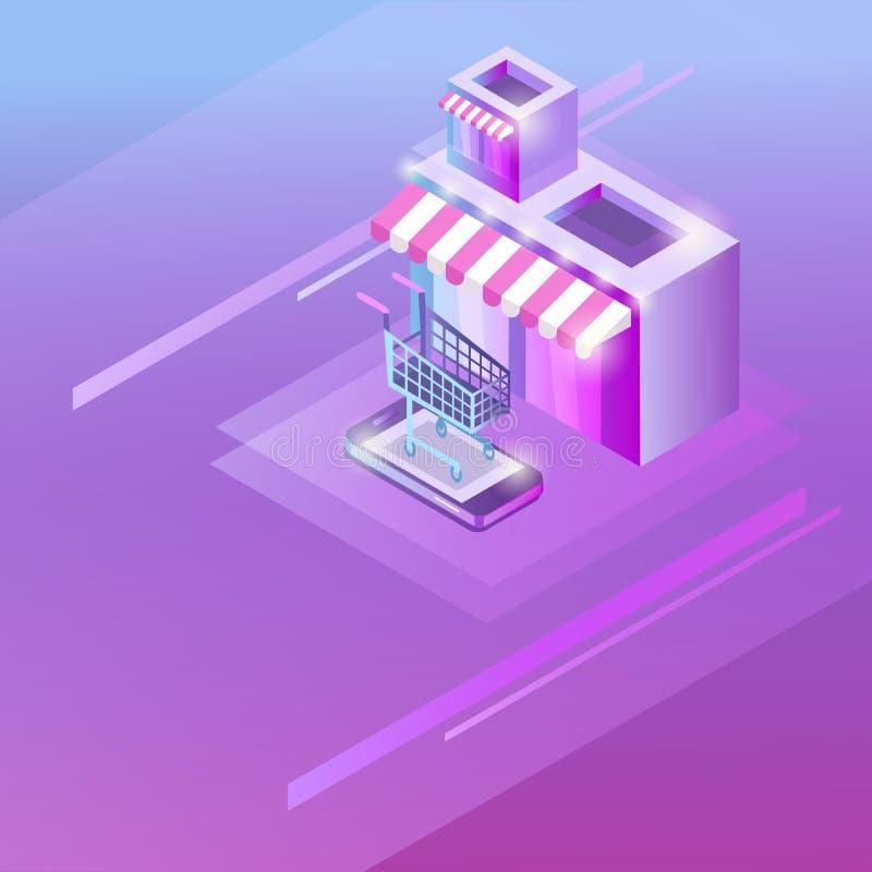 网络购物的概念在等量样式的 库存例证