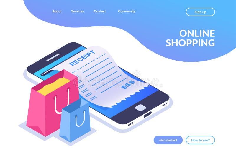 网络购物等量概念 在一个手机的背景的购物带来 在智能手机屏幕上的收据 向量例证