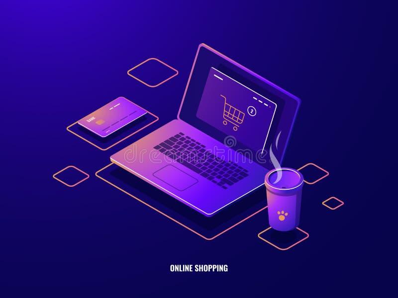 网络购物等量象互联网购买,有商店篮子的膝上型计算机在屏幕,网上付款,信用卡黑暗上 向量例证