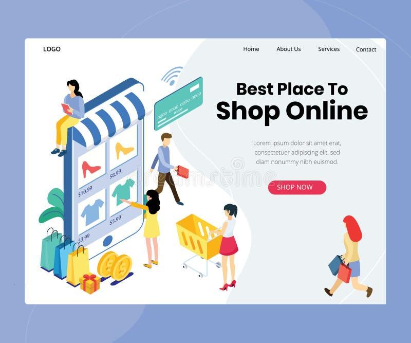 网络购物购买着陆页 向量例证