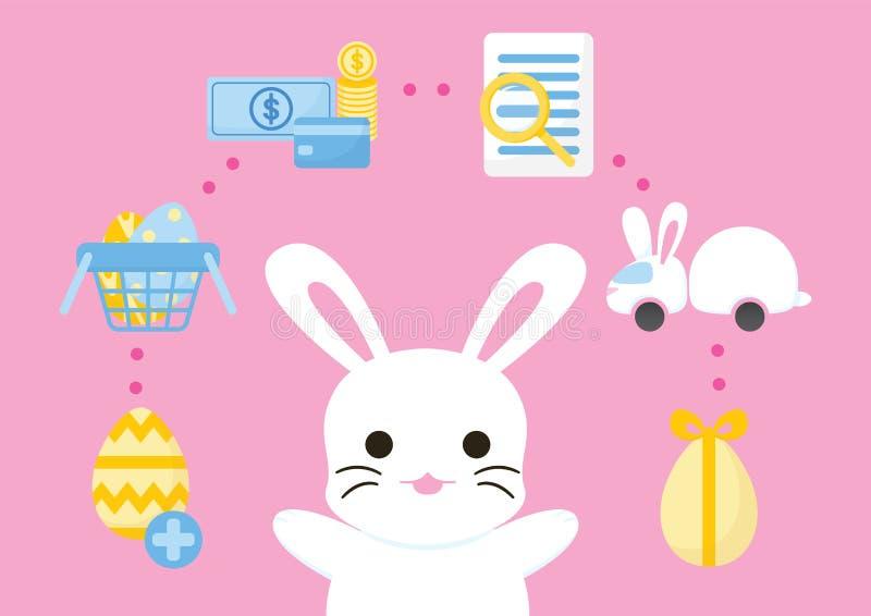 网络购物购买过程复活节概念 库存例证