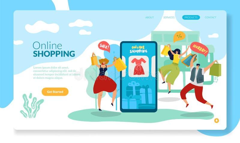 网络购物页 有愉快的买销售的男人和妇女的流动商店平的传染媒介例证 库存例证