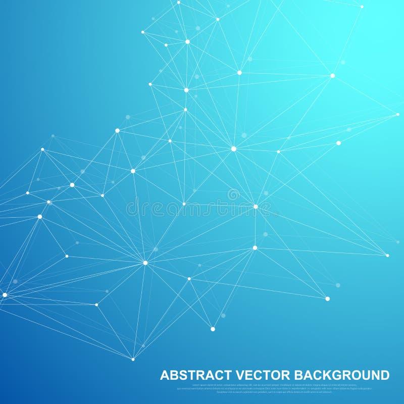 网络连接技术抽象概念 与点和线的全球网络连接 向量例证