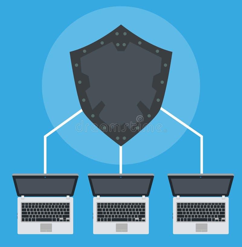 网络连接技术数据标志 例证计算机编码互联网 企业概念网络安全数字式 蓝色全球性 库存例证