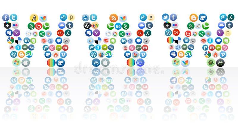 网络连接社会万维网宽世界 库存例证