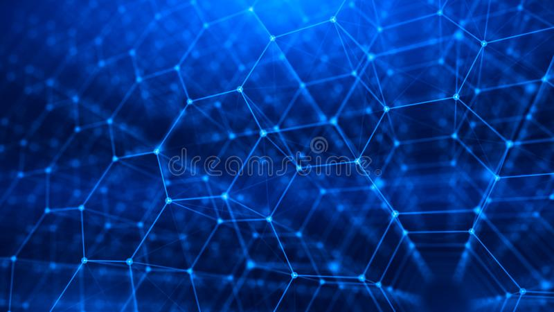 网络,互联网通信- 3d六角栅格背景的概念 皇族释放例证