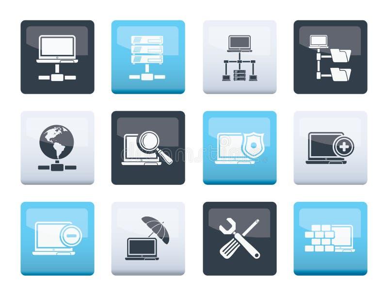 网络,在颜色背景的服务器和主持象 向量例证