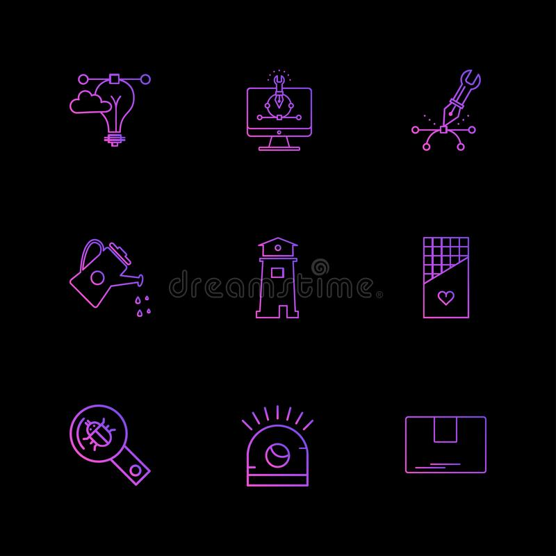 网络,安全,互联网安全,固定式项目,电灯泡, 库存例证
