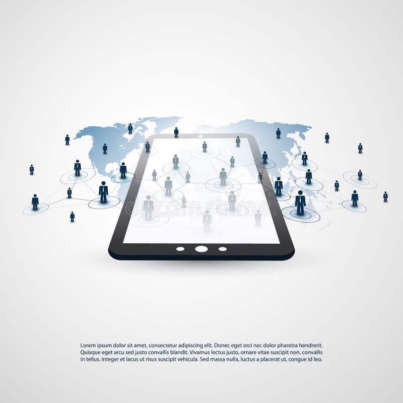 网络-商务联系-与世界地图和片剂的抽象云彩计算和全球网络连接构思设计 皇族释放例证