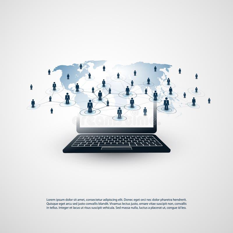 网络-商务联系-与世界地图的抽象云彩计算和全球网络连接构思设计 库存例证