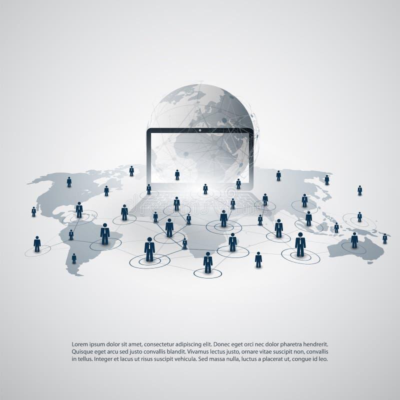 网络-商务联系-与世界地图的抽象云彩计算和全球网络连接构思设计 向量例证
