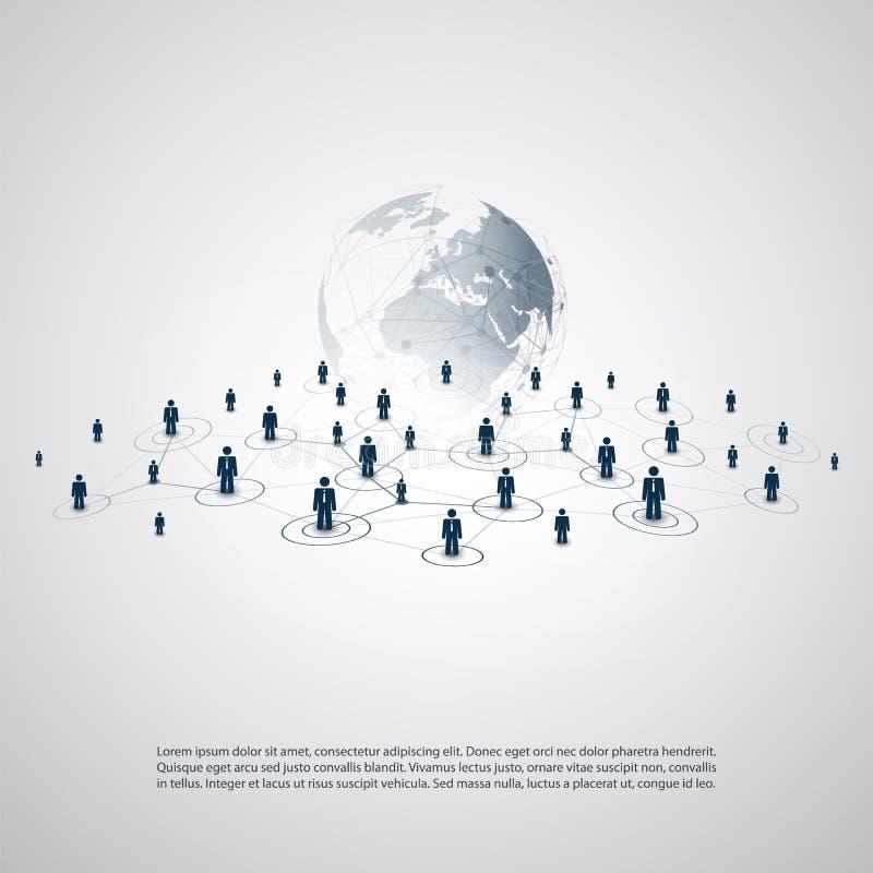 网络-商务联系-与地球地球的抽象云彩计算和全球网络连接构思设计 向量例证