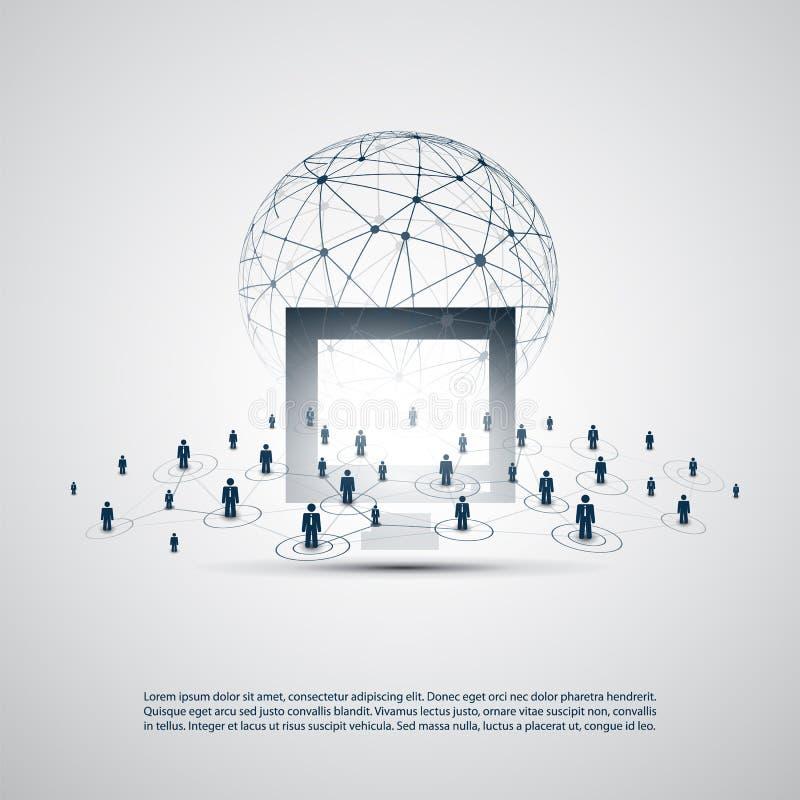 网络-商务联系-与透明滤网的抽象云彩计算和全球网络连接构思设计 库存例证