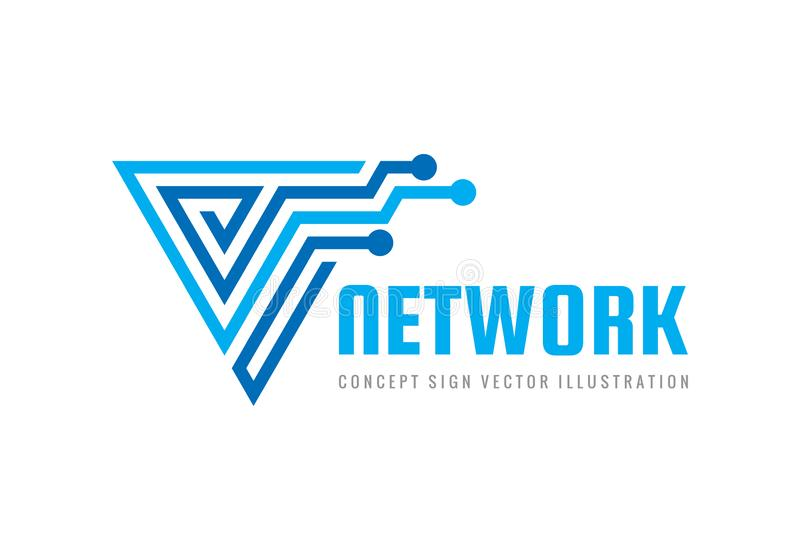 网络-概念企业商标模板传染媒介例证 摘要线创造性的标志 现代计算机科技标志 库存例证
