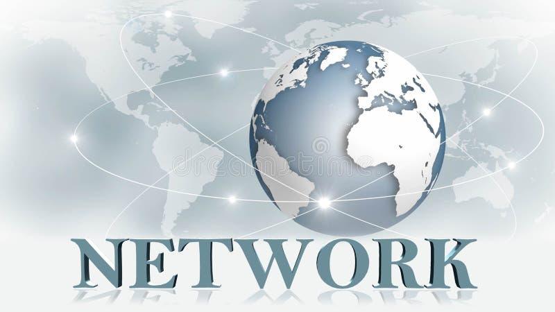 网络-3D在背景事务或全球网络前面的互联网概念的信件 库存例证
