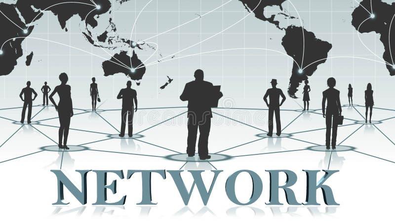 网络-3D在背景事务或全球网络前面的互联网概念的信件 向量例证
