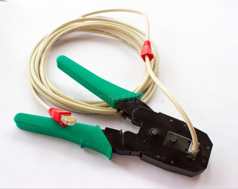 网络LAN缆绳绳子压接机钳子 免版税库存照片