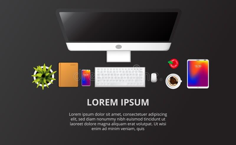 网计算机设定,电话,笔记本,植物,咖啡顶视图有黑背景 库存例证
