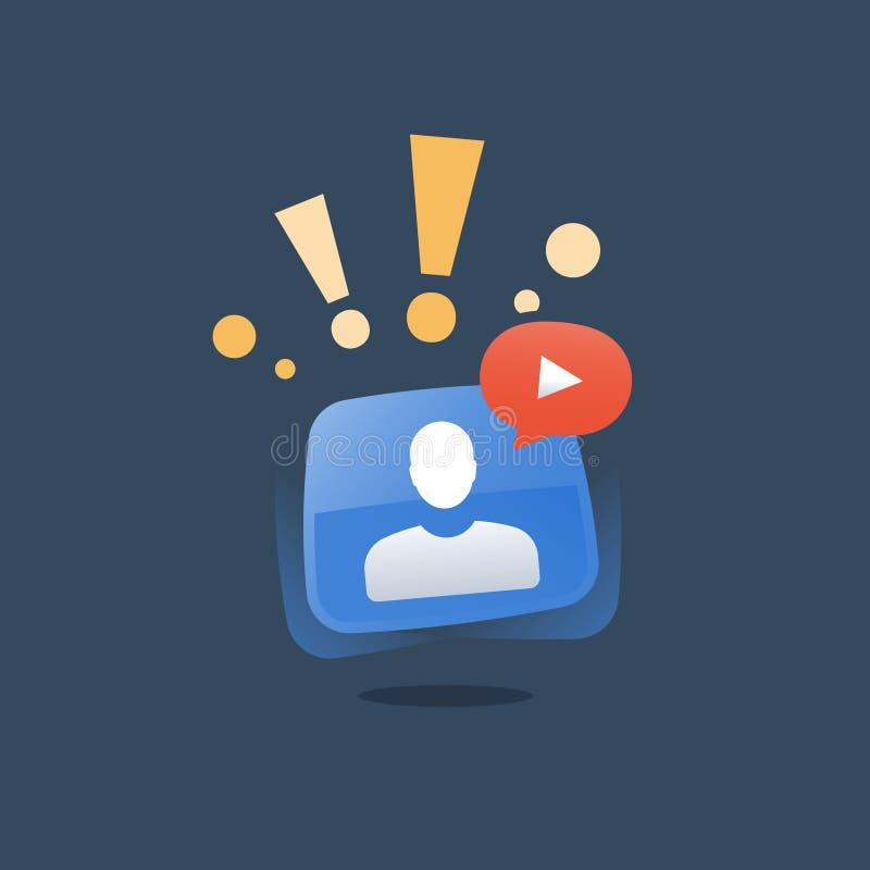 网讲解和资源,webinar概念,网上教程,互联网研讨会,遥远的教导,视频通话 向量例证