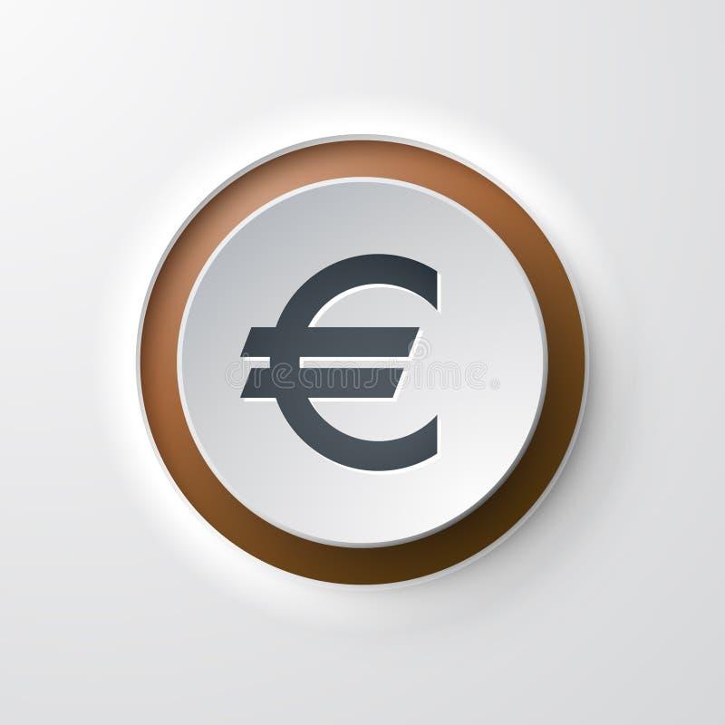 网象按钮操作的欧元 皇族释放例证