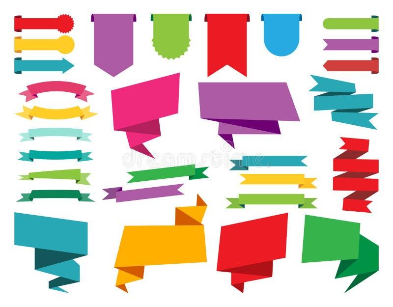 网贴纸、标记、横幅和标签汇集 向量例证