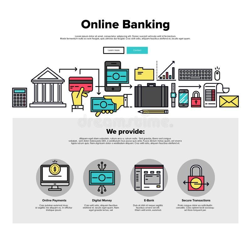 网路银行平的线网图表 向量例证