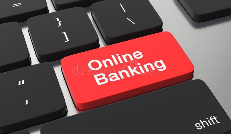 网路银行概念 在键盘按钮的银行业务 皇族释放例证
